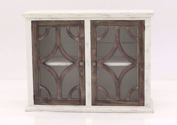 White Westgate Accent Cabinet with Brown Lattice and Glass Doors That Are Closed   Home Furniture Plus Mattress