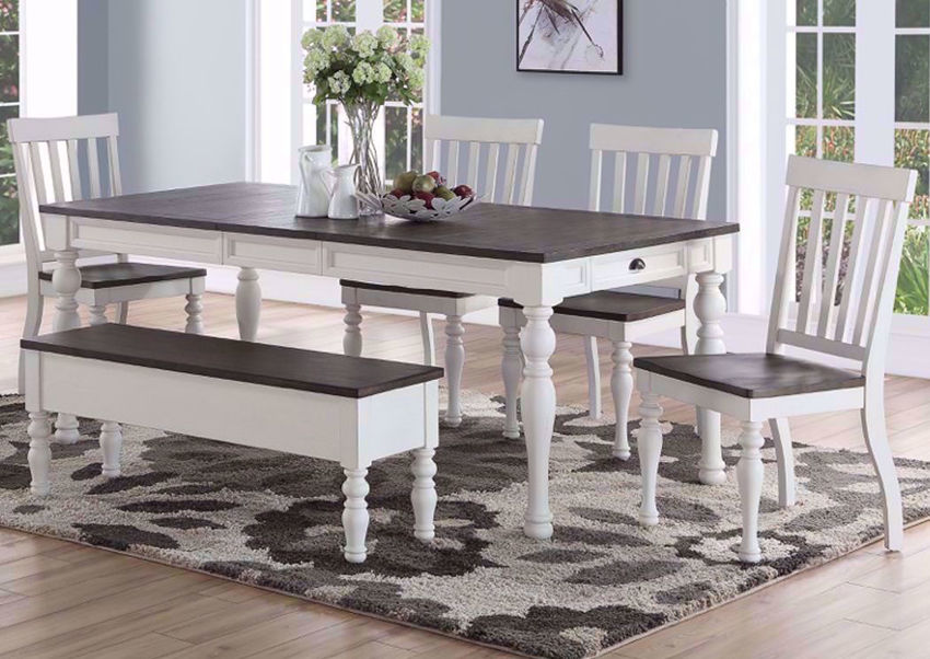White Two-Tone Joanna Dining Table and Bench Set in a Room Setting | Home Furniture Plus Bedding