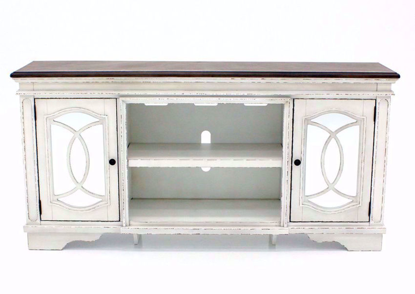 Distressed White Realyn TV Stand by Ashley Furniture Facing Front  | Home Furniture Plus Bedding