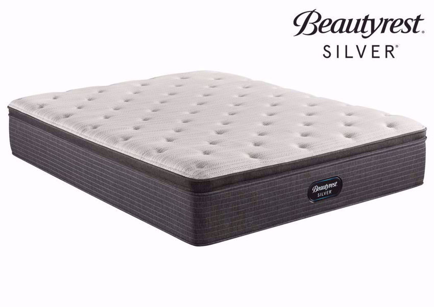 Twin Beautyrest Silver BRS900 Plush Pillow Top Mattress at an Angle   Home Furniture Plus Bedding