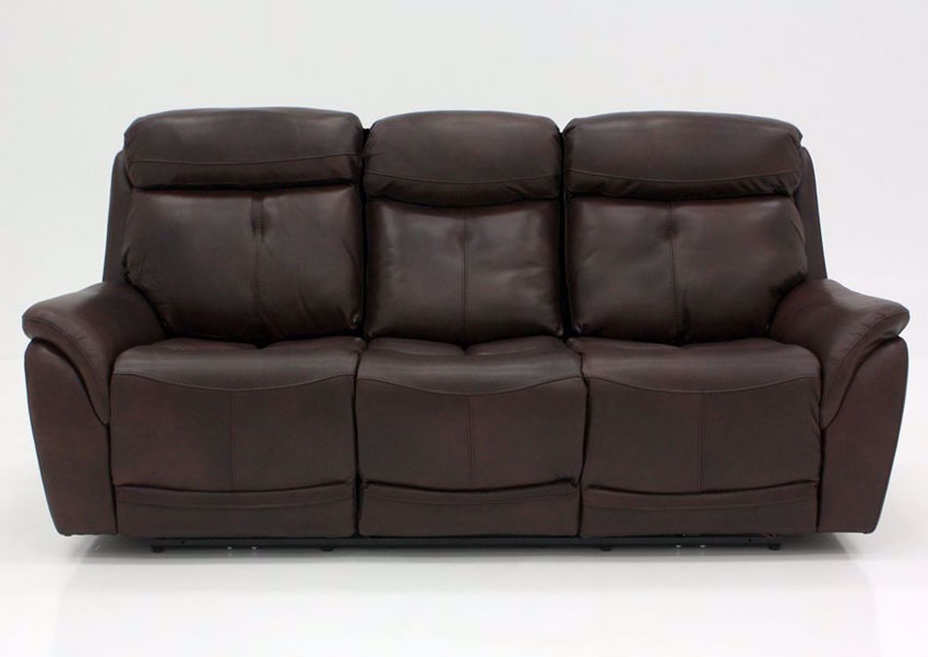 Brown Alpha POWER Reclining Sofa Facing Front | Home Furniture Plus Mattress