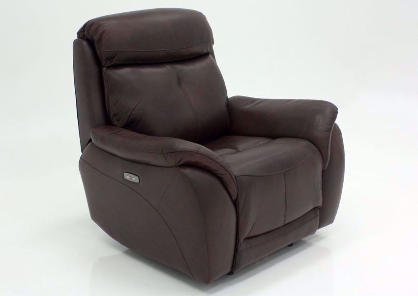 Brown Alpha POWER Recliner at an Angle | Home Furniture Plus Mattress