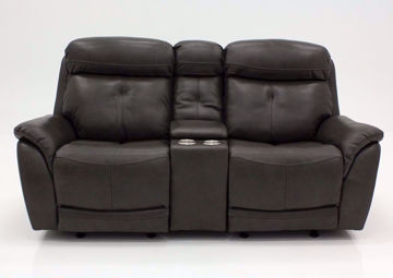 Dark Gray Alpha POWER Glider Reclining Loveseat, Front Facing | Home Furniture Plus Mattress