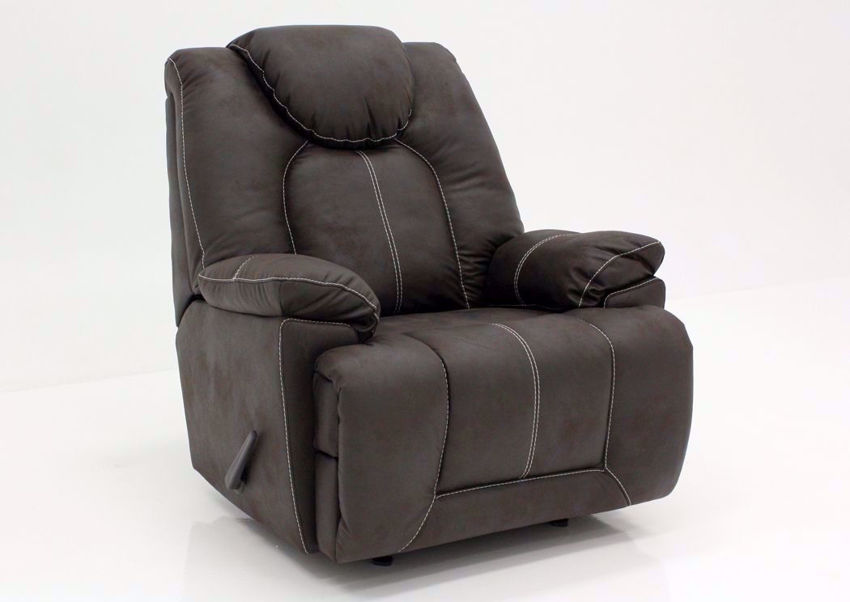 Coffee Brown Warrior Rocker Recliner by Ashley Furniture at an Angle | Home Furniture Plus Mattress