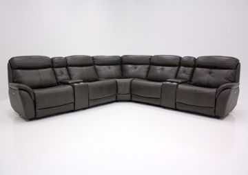 Dark Gray Alpha POWER Reclining Sectional, Front Facing | Home Furniture Plus Mattress