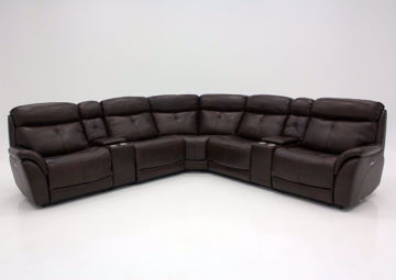 Brown Alpha POWER Reclining Leather Sectional, Front Facing | Home Furniture Plus Mattress