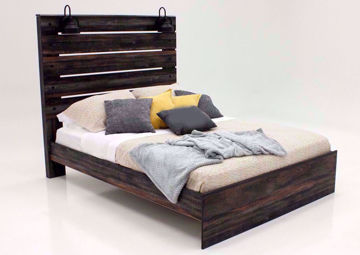 Rustic Barn Wood Brown Drystan Queen Size Bed by Ashley Furniture at an Angle | Home Furniture Plus Mattress