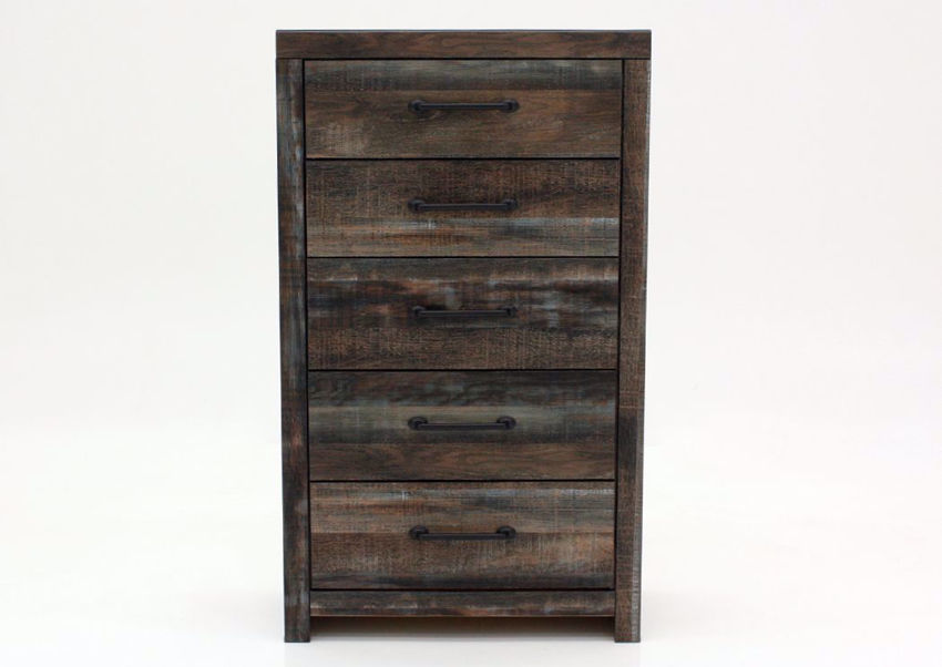 Rustic Barn Wood Brown Drystan Chest of Drawers by Ashley Furniture Facing Front | Home Furniture Plus Mattress