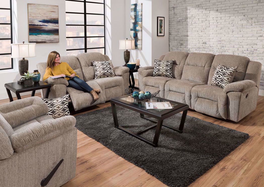 Tan Microfiber Donnelly Reclining Living Room Set by Franklin. Includes Reclining Sofa, Loveseat and Recliner | Home Furniture Plus Bedding