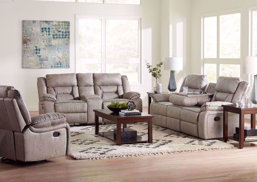 Taupe Acropolis Sofa Set by Standard in a Room Setting | Home Furniture Plus Bedding