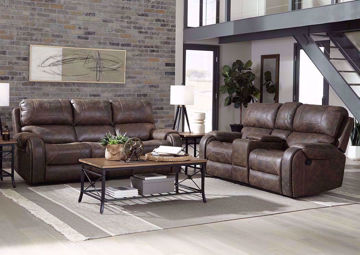 Saddle Brown Clayton Reclining Living Room Set by Standard in a Room Setting | Home Furniture Plus Mattress