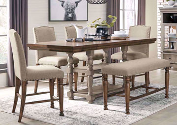 Brown Lettner Counter Height Dining Table Set by Ashley Furniture in a Room Setting  | Home Furniture Plus Mattress