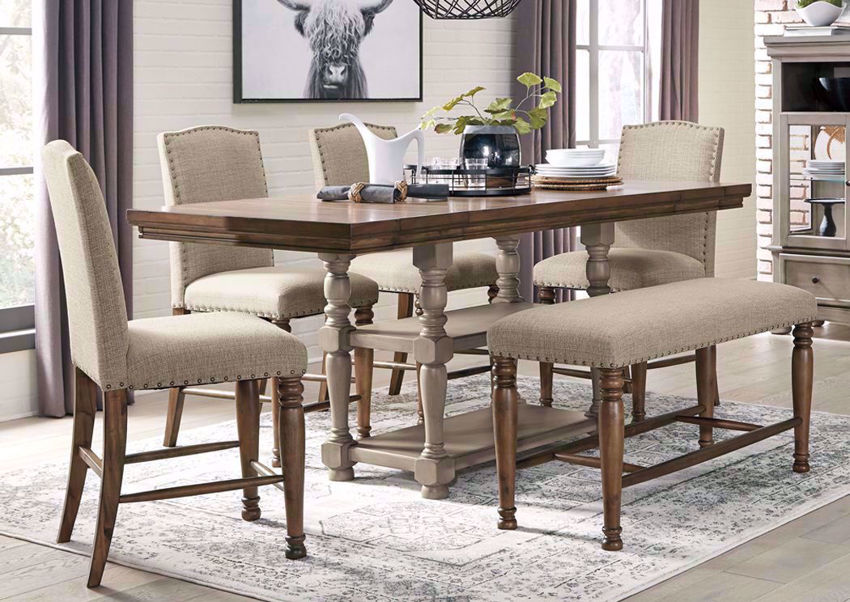 Lettner Counter Height Dining Table Set - Brown