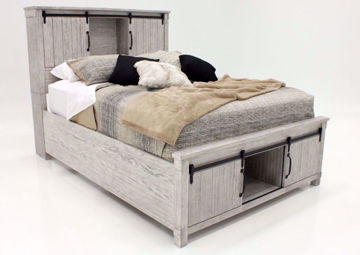 Distressed White Scott Queen Size Storage Bed by Elements at an Angle   Home Furniture Plus Mattress