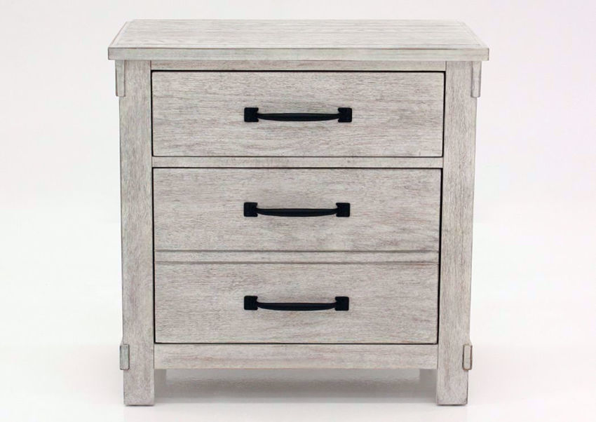 Distressed White Scott Nightstand by Elements Facing Front | Home Furniture Plus Mattress