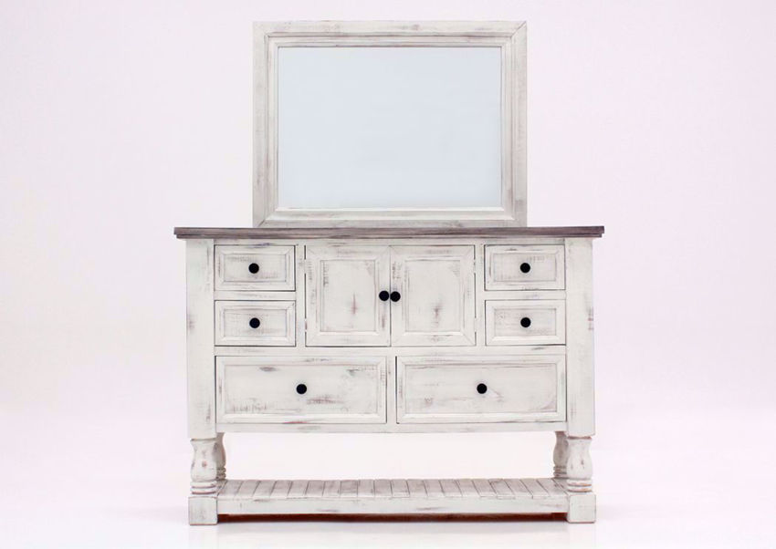 Rustic White Martha Dresser with Mirror by Vintage Furniture Facing Front | Home Furniture Plus Mattress