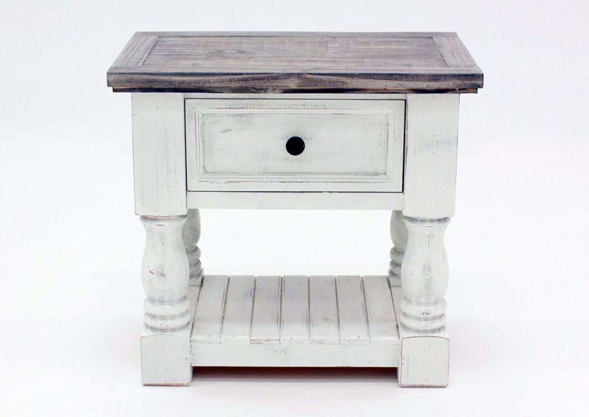 Rustic White Martha Nightstand by Vintage Furniture Facing Front | Home Furniture Plus Mattress