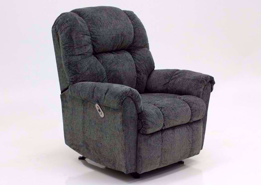 Slate Gray Ruben Power Recliner by Franklin at an Angle   Home Furniture Plus Mattress