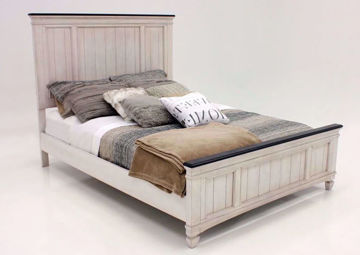 Off White Sawyer King Size Bed by Crownmark at an Angle | Home Furniture Plus Mattress