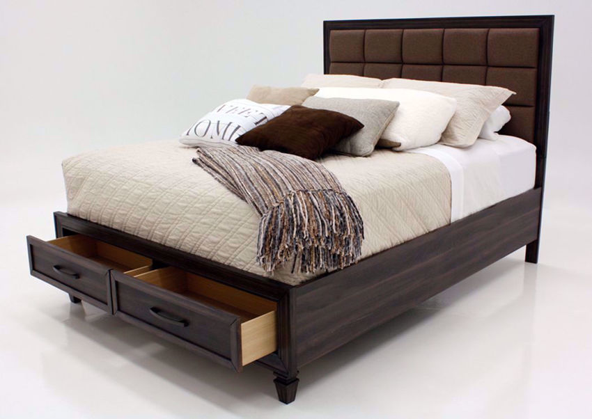 Dark Brown Gemini King Size Bed by Intercon at an Angle With the Footboard Drawers Open | Home Furniture Plus Mattress
