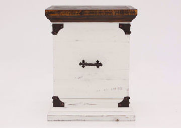 Brown and White Carson Storage End Table by Vintage Furniture Facing Front | Home Furniture Plus Mattress