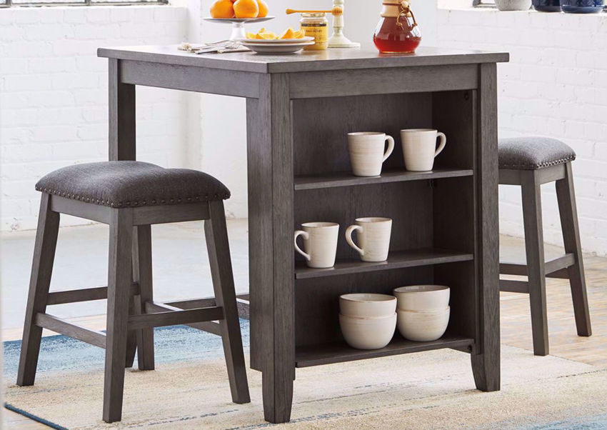 Antique Gray Caitbrook 3 Piece Counter Height Table Set by Ashley Furniture in a Room Setting   Home Furniture Plus Bedding