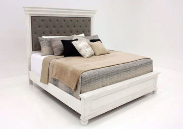 Distressed White Kanwyn Upholstered Queen Size Bed by Ashley at an Angle | Home Furniture Plus Mattress