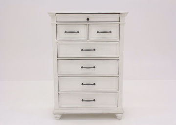 Distressed White Kanwyn Chest of Drawers by Ashley Facing Front | Home Furniture Plus Mattress