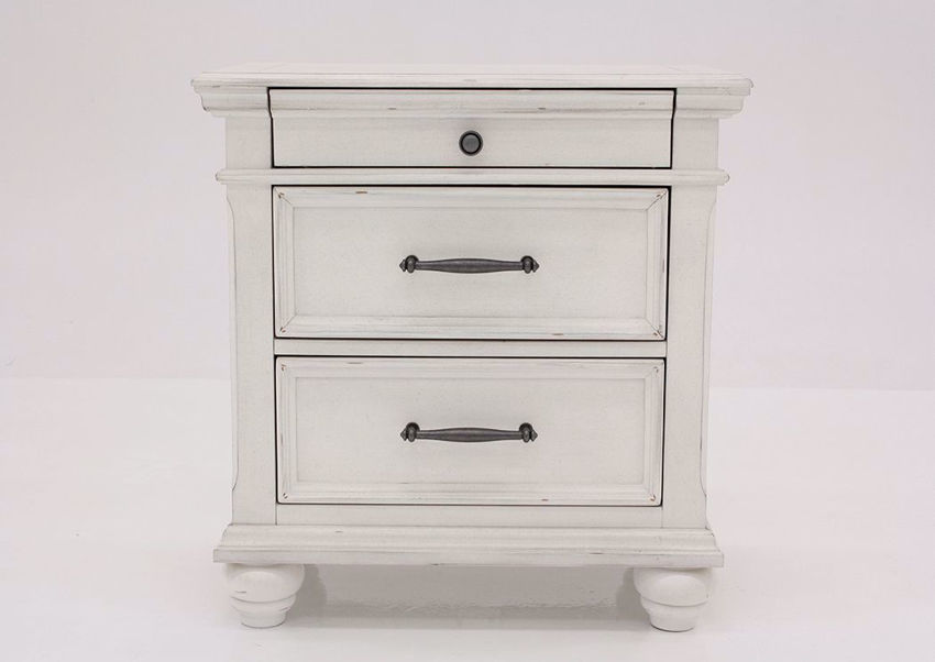 Distressed White Kanwyn 3 Drawer Nightstand by Ashley Facing Front | Home Furniture Plus Mattress