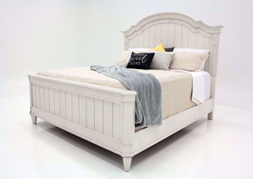 White Mallory Queen Size Bed by Standard at an Angle | Home Furniture Plus Mattress