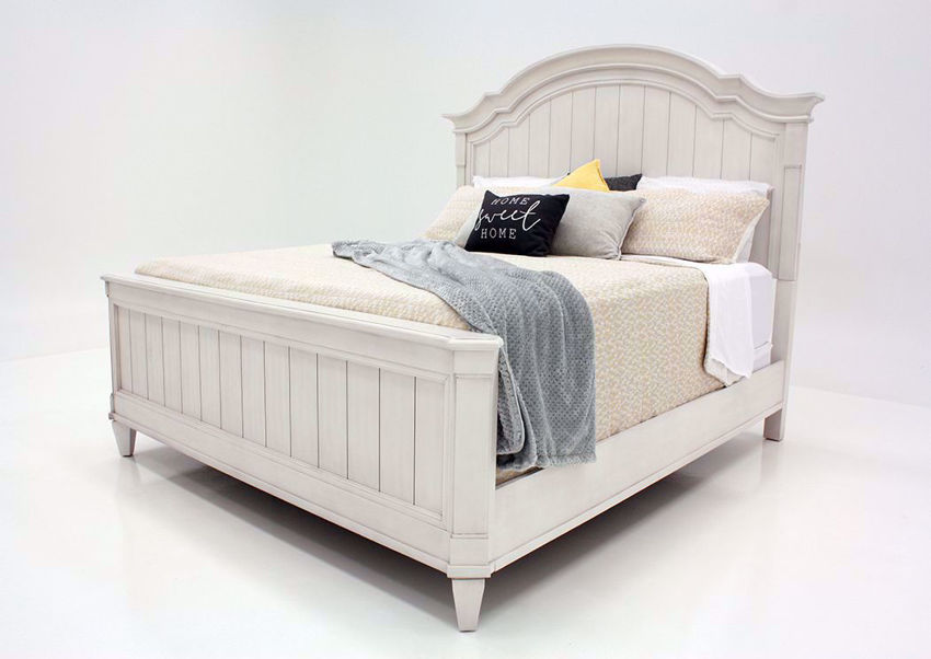 White Mallory King Size Bed by Standard at an Angle | Home Furniture Plus Mattress