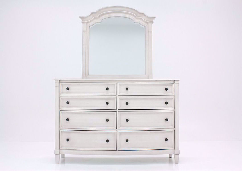 White Mallory Dresser with Mirror by Standard Facing Front   Home Furniture Plus Mattress