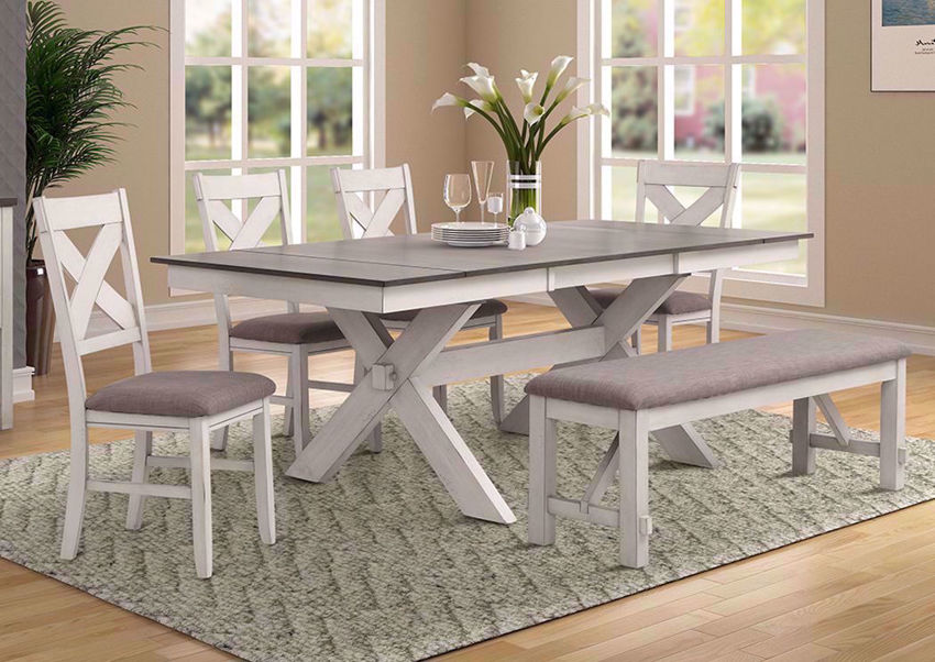 White and Brown Homestead Dining Set with Bench by Bernards in a Room Setting | Home Furniture Plus Bedding