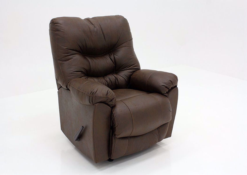Dark Brown Marshall Rocker Recliner by Franklin at an Angle | Home Furniture Plus Mattress