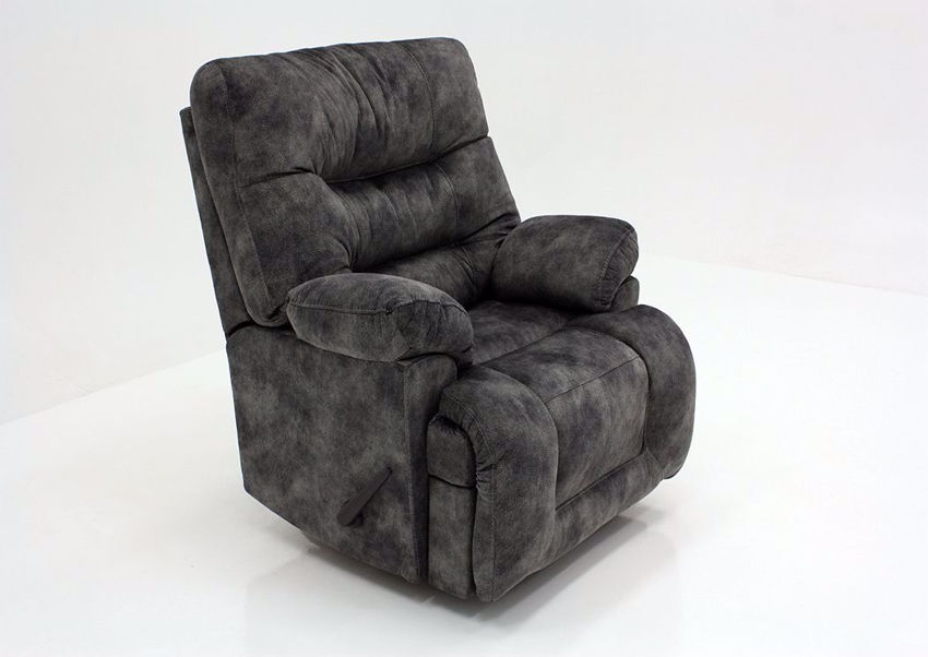 Gray Boss Rocker Recliner by Franklin at an Angle | Home Furniture Plus Mattress