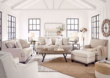 Light Beige Claredon Sofa Set by Ashley Furniture Showing a Room Setting | Home Furniture Plus Bedding
