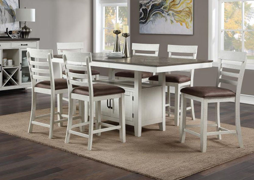 Vintage White Kirkland 5 Piece  Counter Height Dining Table Set by Standard Showing the Room View | Home Furniture Plus Bedding