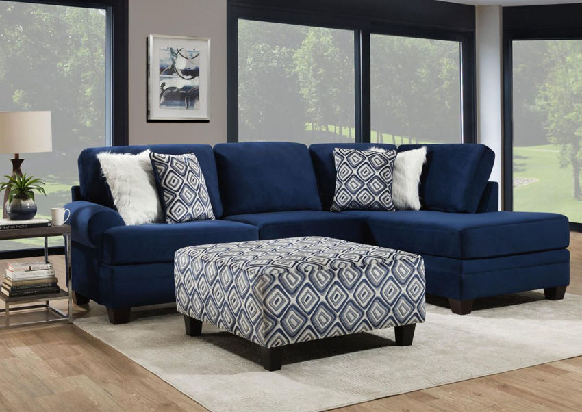 Navy Groovy Chaise Sectional Sofa by Albany in a Room Setting | Home Furniture Plus Mattress
