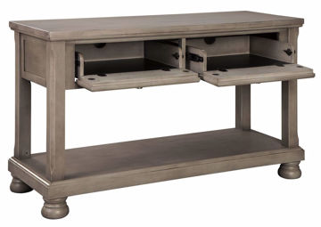 Gray Lettner Sofa Table by Ashley Furniture at an Angle With the Drawer Fronts Dropped Down | Home Furniture Plus Mattress