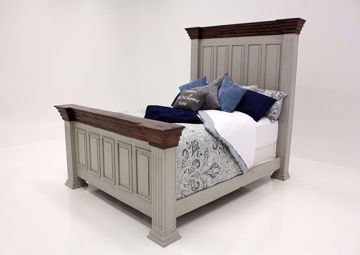 Gray with Brown Lafitte King Size Panel Bed by Texas Rustic at an Angle | Home Furniture Plus Mattress