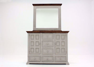 Gray with Brown Lafitte Dresser with Mirror by Texas Rustic at an Angle | Home Furniture Plus Mattress