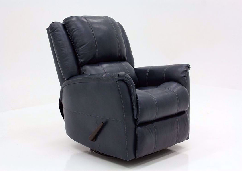 Navy Blue Mercury Swivel Glider Recliner by Homestretch at an Angle | Home Furniture Plus Mattress