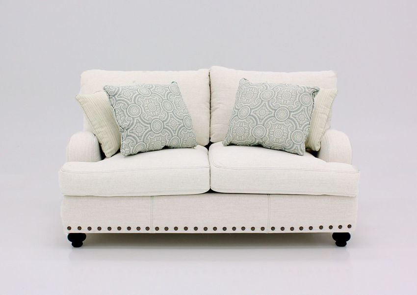 Off White Brinton Loveseat by Franklin Furniture Showing the Front View, Made in the USA | Home Furniture Plus Bedding