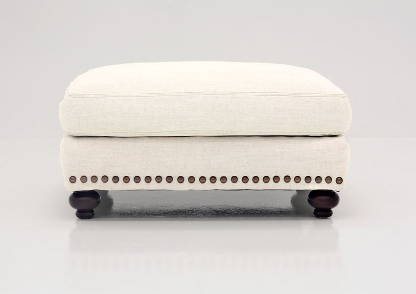 Off White Brinton Ottoman by Franklin Furniture Showing the Front View, Made in the USA | Home Furniture Plus Bedding