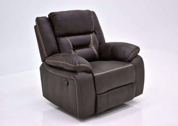 Chocolate Brown Acropolis Swivel Glider Recliner by Standard at an Angle | Home Furniture Plus Mattress