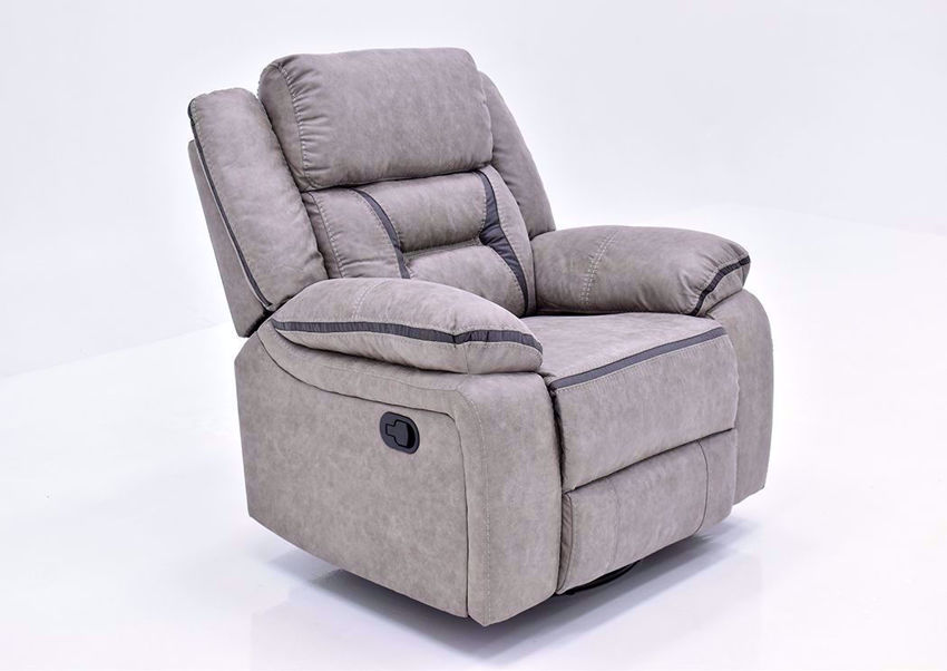 Taupe Acropolis Swivel Glider Recliner by Standard at an Angle | Home Furniture Plus Mattress