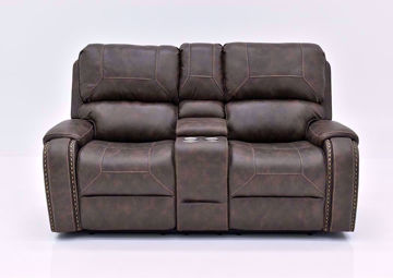 Saddle Brown Clayton Reclining Loveseat by Standard Facing Front | Home Furniture Plus Mattress