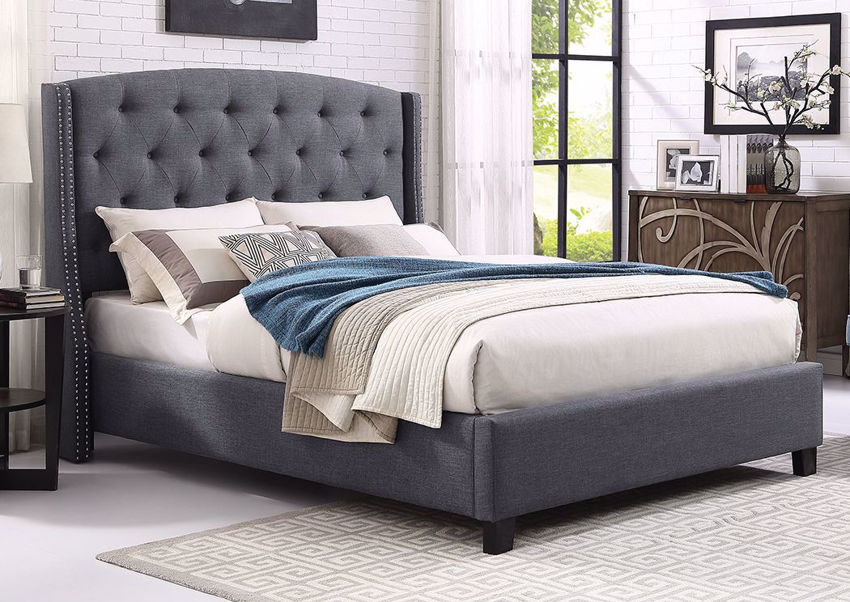 Gray Eva Queen Size Upholstered Bed at an Angle in a Room Setting | Home Furniture Plus Mattress