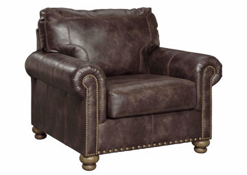 Front Facing Nicorvo Chair by Ashley Covered in Brown Upholstery with Accent Pillows | Home Furniture Plus Bedding