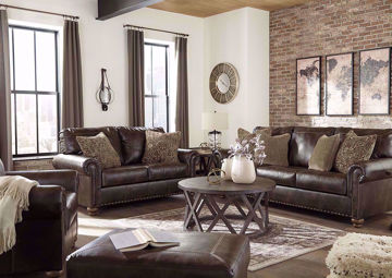 Brown Nicorvo Sofa Set by Ashley Furniture - Includes Sofa, Loveseat and Chair | Home Furniture Plus Bedding